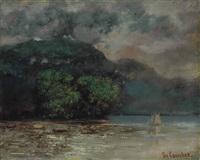 lac léman avant la tempête by gustave courbet
