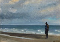 coastal scene with a fisherman overlooking the sea by michael peter ancher