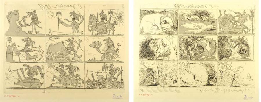 sueno y mentira de franco, planches i et ii (2 works) by pablo picasso