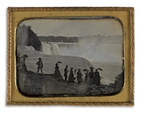 a large group of well-dressed tourists at niagara falls by platt d. babbitt