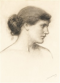 head study, probably for a tale from the decameron by john william waterhouse
