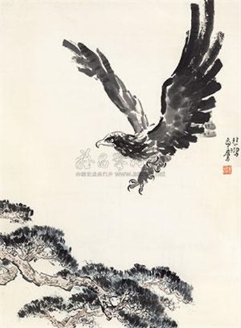 松鹰图 the eagle by xu beihong