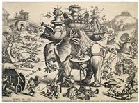 der grosse elephant mit einem phantasieschloss auf dem rücken by hieronymus bosch