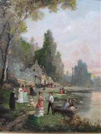 fête au bord du lac by guillaume françois colson