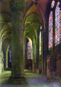 intérieur d'église by maurice lobre