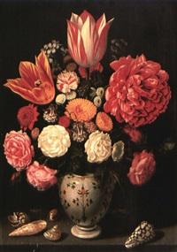 vase de fleurs et coquillages sur un entablement by abraham bosschaert