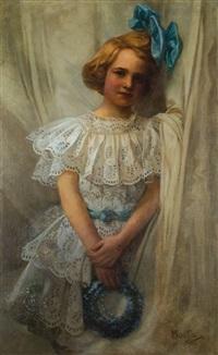 dívka s modrou mašlí a věnečkem by alphonse mucha