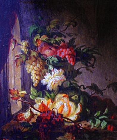 raisins et pommes dans une vasque de pierre dans une salle gothique by simon saint jean