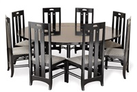 dining table and eight chairs (set of 9) by charles rennie mackintosh