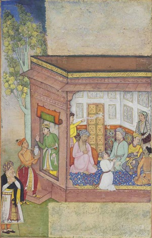 a gathering in a pavilion by anonymous indian mughal