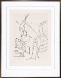 view from the bed with lampshade by alberto giacometti