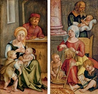 mary clopas and her family (+ mary salome and her family; pair) by hans (suess von) kulmbach