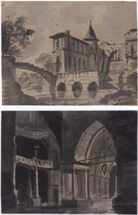 un château médiéval au bord d'une rivière (+ l'intérieur d'un palais médiéval; 2 works) by louis jaques mandé daguerre