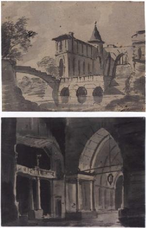un château médiéval au bord dune rivière lintérieur dun palais médiéval 2 works by louis jaques mandé daguerre
