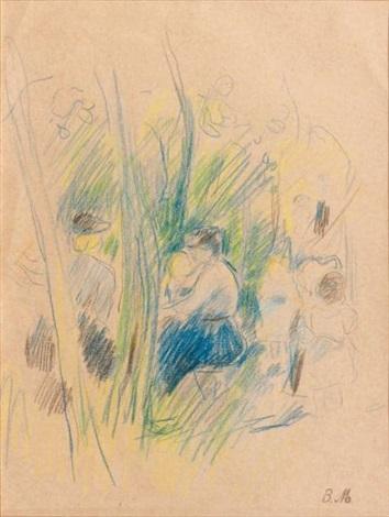 femme et enfant sous les arbres by berthe morisot