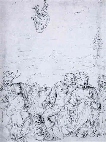 a group of figures in a landscape by romanino girolamo romani