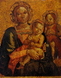 madonna and child with saint john the baptist by antonio massari da viterbo