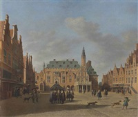 a view of the townhall of haarlem, with figures conversing on the market square by gerrit adriaensz berckheyde