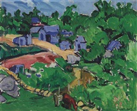 landscape with blue houses by stuart davis