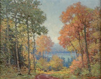 autumn road - superior national forest by carl wendell rawson