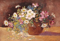 bowl with wild flowers by eugenia filotti atanasiu