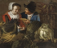 a maid buying groceries at a vegetable stand by christian van couwenbergh