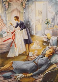 female officer lying on bed as maid prepares gown (cover study for the new yorker) by constantin alajalov