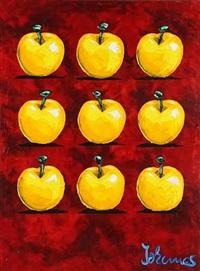 neun äpfel auf rot by johannes adamski