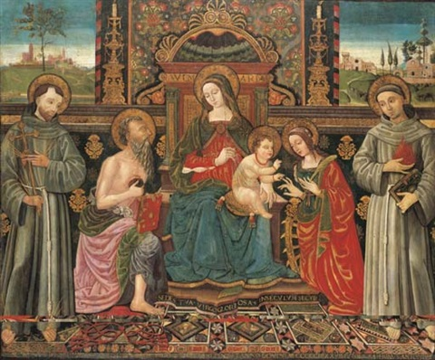 the madonna and child enthroned with saints francis of assisi jerome catherine of alexandria and anthony of padua by antonio massari da viterbo