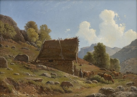 milkmaid with cattle by a summer farm by knud andreassen baade