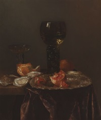 still life with roemer, pomegranates and oysters by abraham van beyeren