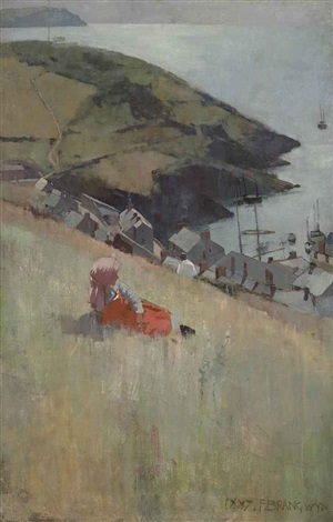 above the fishing village by sir frank brangwyn