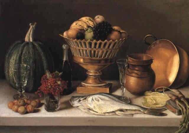 Bodegón con pescado y calabaza cuadro de comedor von Pedro ...