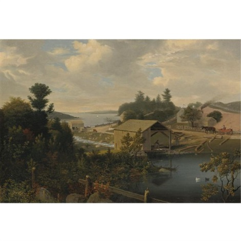 the old mill at goose cove annisquam gloucester by fitz henry lane