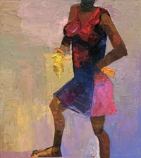lady in red dress by duke asidere