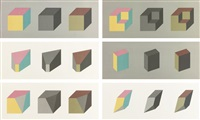 forms derived from a cube in color (simple and superimposed) & black & gray (set of 6) by sol lewitt