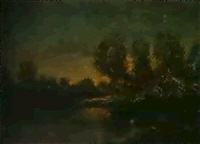 crepuscule sur l'etang by marcel adolphe bain