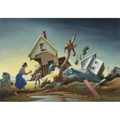 flood disaster (homecoming - kaw valley) by thomas hart benton