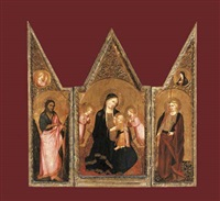 the madonna of humility with saint catherine and saint john the baptist (triptych) by agnolo di taddeo gaddi