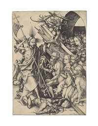 christ in limbo, from: the passion of christ by martin schongauer