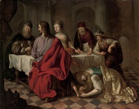 mary magdalene washing the feet of christ in the house of simon by salomon koninck