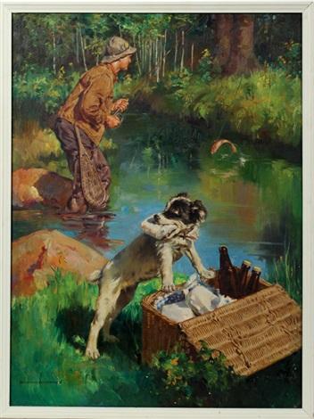 fishing scene by harold n anderson