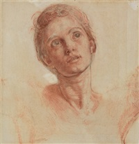 head of christ (preparatory study for the shadow of death) by william holman hunt