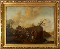 choc de bataille près d'une rivière by pieter wouwerman