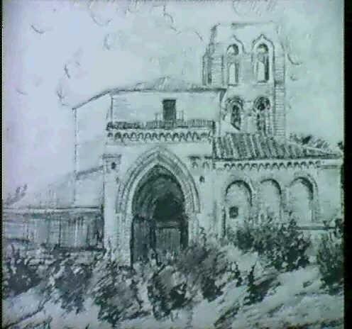 vista del pueblo atraves de la iglesia en jarras portada de la iglesia y la ermita 4 obras by serafín avendaño