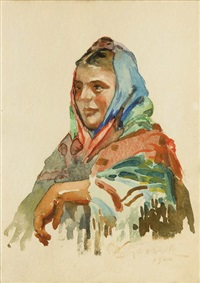 portret kobiety w chuście by woiciech (aldabert) ritter von kossak