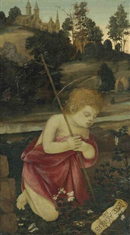 the young saint john the baptist praying in a landscape by filippo (filippino) lippi