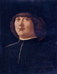 portrait of a gentleman in a black coat and black cap by alvise vivarini