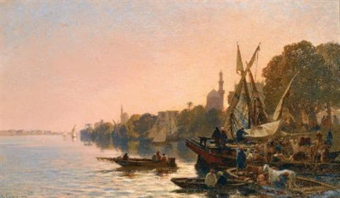 a ferry on the nile by alberto pasini