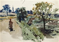 village houses; trees; seawall, arbroath; figures on path; landscape tree study (5 works, various sizes) by james watterston herald